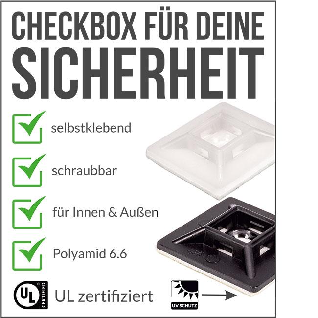 Checkbox Kabelbinder Klebesockel schwarz oder weiss
